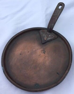 Victorian Copper Pan Lid With Cast Iron Handle