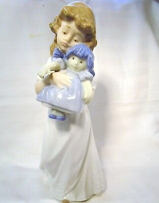"LLADRO/NAO Lovely Young Girl carrying her rag Doll ""We're sleepy"""