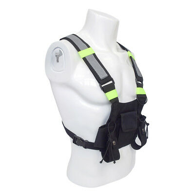 Radio Pocket Chest Harness Pack Pouch Holster Vest Rig with Reflective Strip