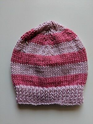 Newborn beanie/hat  - Hand Knitted - Dusty Pink and Watermelon