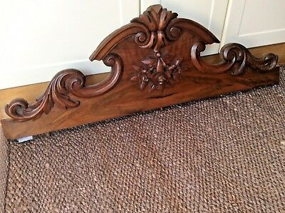 Large French Antique Oak/Mahogany Armoire Pediment RECLAIMED CARVED OAK CORBEL