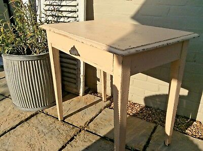 Antique French Desk very vintage painted single draw