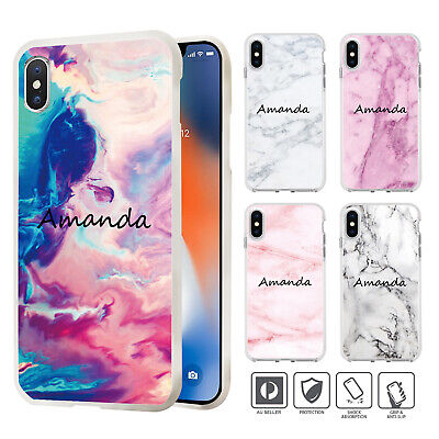 Personalised Name Marble Cover Case iPhone XS MAX XR X 8 7 SE 6 6S Plus 008