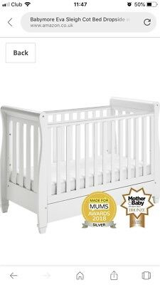 Babymore Eva Sleigh White Cot Bed With Drawer