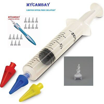Ear Wax Remover Syringe Kit with 3  Removal Quad-Tips, Instructions,Ear Wax Swab