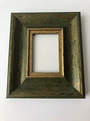 NEW Quality wooden ACEO Art/sports card 3.5 x 2.5 dark green/gold picture frame