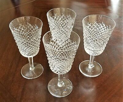 """Lot of 4 - Waterford Alana Crystal Water Goblets - 7"""""""