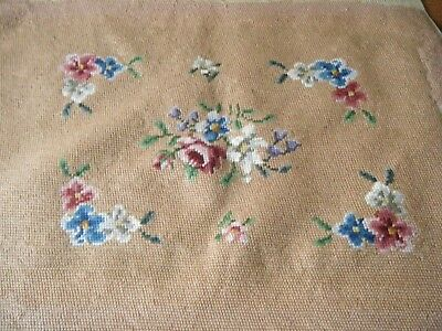 Old Vtg  Panel wool Needlepoint Tapestry H embroidery  done flowers  roses