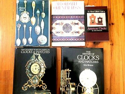 Collection Of 5 Reference Books On Antique Clocks, Spoons & Rugs