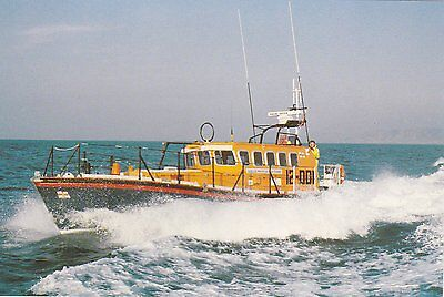 A colour postcard of a Mersey Class Lifeboat