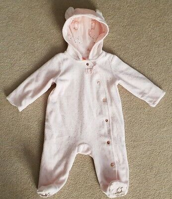 Ted Baker Baby Girl Light Pink Velour Spot Print Thick Baby Grow Age 0-3 mths