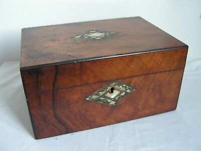 Antique  Figured Walnut Box, With Working Lock & Key And Mother Of Pearl Inlay