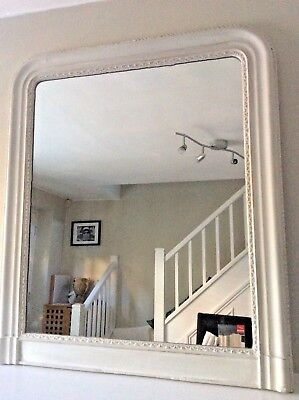 Antique French Mirror with Wooden carved Frame Painted