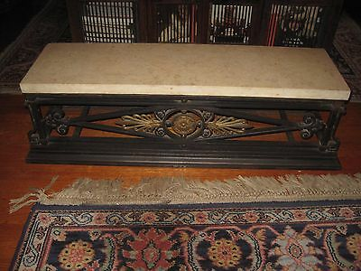 "Antique Cast Iron Marble Top Table 40"" Long, 11 1/4"" Tall"
