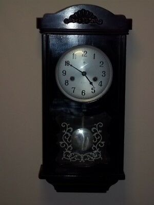 polaris wall clock hour/half chime ebonised case 15 day