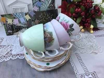 Royal Vale Bone China 12 Pce Trio Cup Saucer Plate Set Pink Green Mix 'N' Match