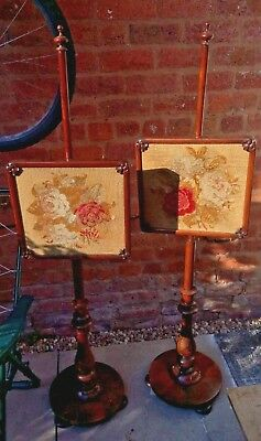 OFFERS? Matching PAIR of 1830s William IV rosewood pole tapestry screens