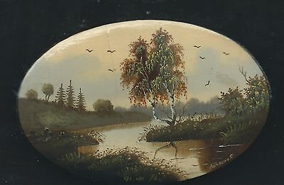 """Vintage Fedoskino Hand Painted  Russian Lacquer Box """"Summer Landscape"""" dtd 1976"""