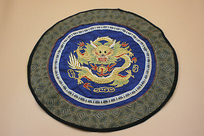 Chinese Silk Embroidery Gold Dragon Round Piece