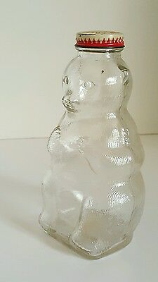 Vintage Snow Crest Bear Bank Glass W/ Metal Lid Snow Crest Beverage Salem Mass
