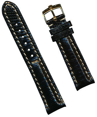 GOLD ROLEX BUCKLE & 22mm GENUINE LIZARD STRAP BAND LEATHER LINED PADDED TANG