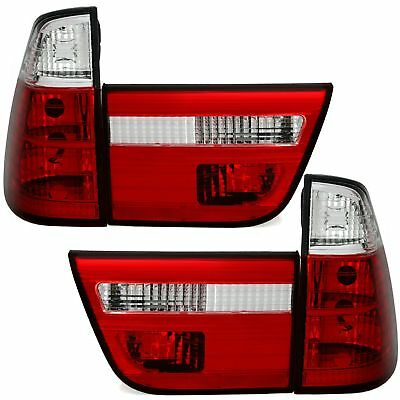 2 Feux Arriere Bmw X5 E53 8/1999 A 10/2003 Cristal Blanc Rouge Look Phase 2