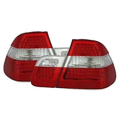 FEUX ARRIERE BMW SERIE 3 E46 1998-2001 316i 318i 320i BLANC ROUGE LOOK PHASE 2