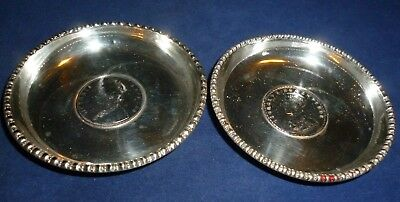 Two Indian Silver Dishes each inlaid with a Silver Indian One Rupee Coin