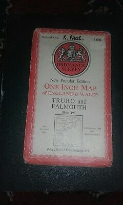 Ordnance survey one inch map 190 Truro And Falmouth