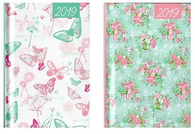 2019 Pocket Week To View Fashion Diary Home WTV W2V Flowers Floral Butterfly