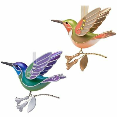 2018 Hallmark Hummingbird Surprise - Gold & Green Ornaments - 2 Pc Repaint Set