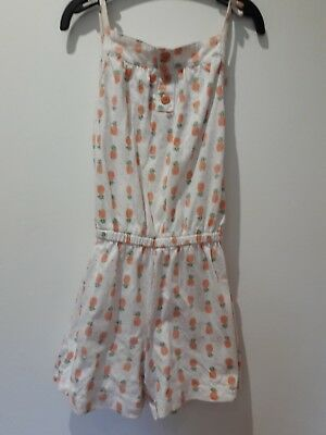 Girls Cotton Jumpsuit. Age 2-3. White With Pineapple Design. Tu. Elasticated