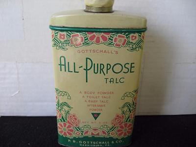 Vintage floral All-Purpose Talc powder tin by Gottschall's of Harrisburg, Pa.