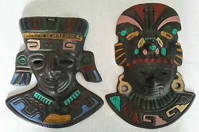 2 x Mayan Aztec Mexican King & Queen Painted Tribal Mask Wall Hanging