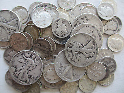 $10 Circulated Walkers, Mercury and Roosevelt Silver Average Coins