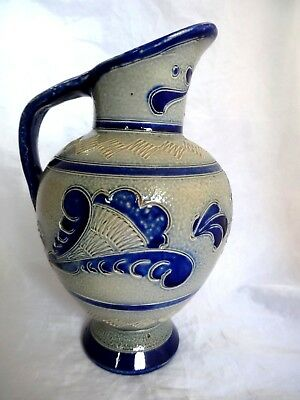 "Cobalt Blue Salt Glaze 8.5"" Pottery Jug / Vase - Antique? German ? Unmarked"