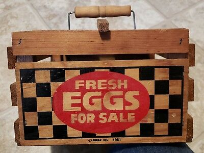 "Vintage Wood Egg Carrier - Crate - Basket - Box ""fresh Eggs For Sale"""