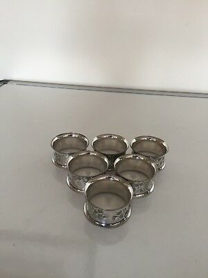 6 Nicely Decorated Silver Plated Napking Rings Numbered 1 To 6