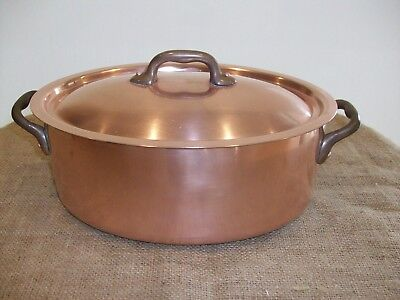 Vintage Copper Oval Casserole with Lid and Brass Handles - 4 Quarts