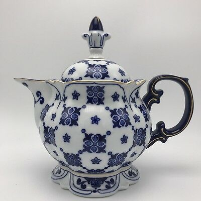 Bombay China Tea Pot Square Footed Base Blue White Gold Trim Summer Hill