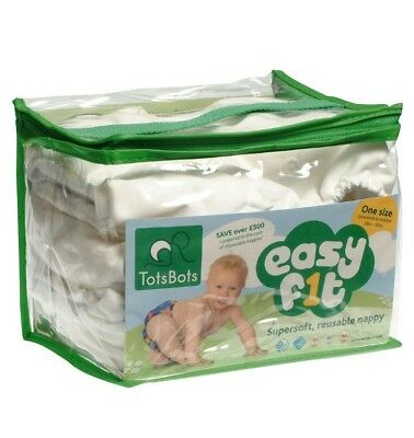 TotsBots Easy Fit Supersoft Reuseable Nappies 3pk white Onesize 8-35lbs NEW