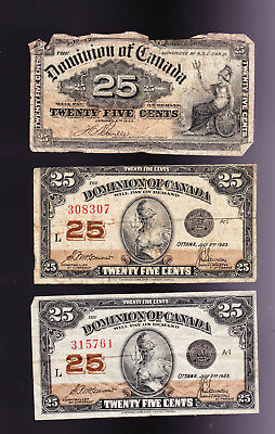 Three Vintage Dominion Of Canada Fractional 25 Cent Notes.  1-1900 & 2-1923.