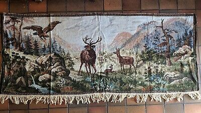 retro vintage woven wall hanging tapestry highland stags and eagle
