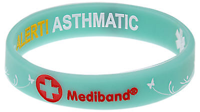 Reversible Designer Asthma Butterfly Wristband Medical Alert Mediband Medium