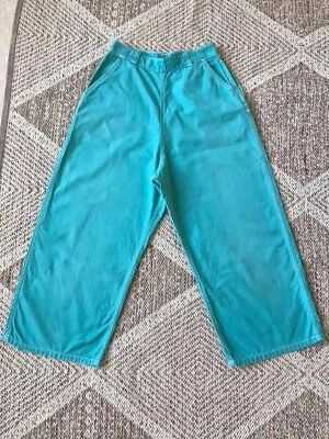 Teal Blue 1950s White Stag Sailcloth Capri Pants Clam Diggers