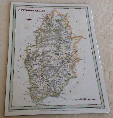 19th C Coloured Map Of Nottinghamshire By Creighton 1831
