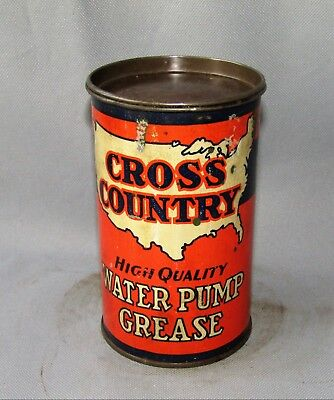 Vintage CROSS COUNTRY GREASE Can Sears Roebuck Motor Oil Grease Can One Pound