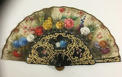 Nice Antique French 19th Century Flower Painting Painted Hand Fan Signed