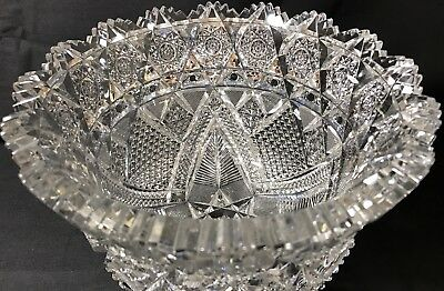 "Antique Abp Superior Heavy 81/2"" J. Hoare Marquis Pattern Cut Glass Ice Tub Bowl"