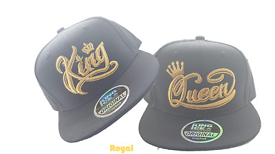 Pair King And Queen Couple Golden Crown Snapback Hat Cap Embroidered Ideal  Gift 9adb022f27c4